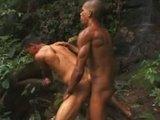 Dva rozkošní černošci si hezky narážejí své zadečky v deštném pralesu - freevideo